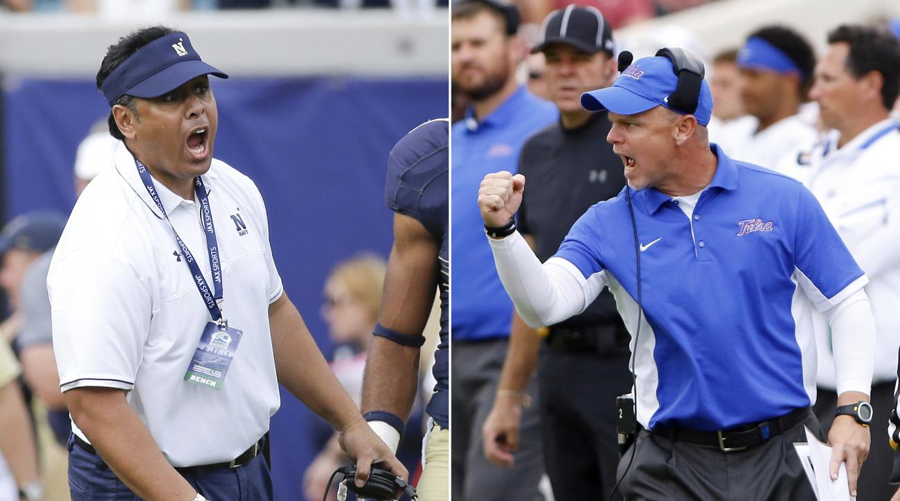 FILE - At left, in a Nov. 5, 2016, file photo, Navy head coach Ken Niumatalolo calls out to players during the second half of an NCAA college football game against Notre Dame, in Jacksonville, Fla. At right, in a Sept. 19, 2015, file photo, Tulsa head coa