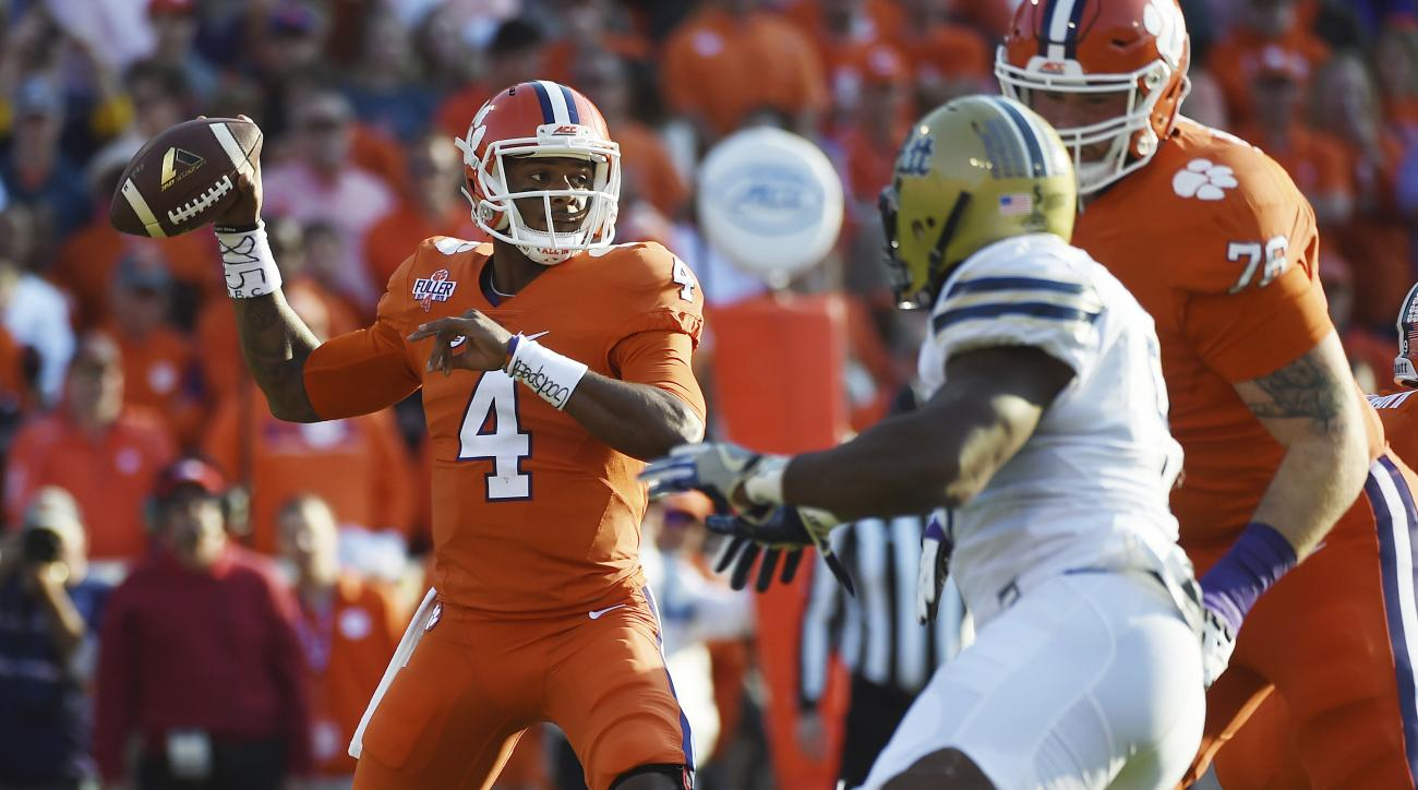 Clemson quarterback Deshaun Watson (4) looks to throw a pass during the first half of an NCAA college football game against Pittsburgh on Saturday, Nov. 12, 2016, in Clemson, S.C. (AP Photo/Rainier Ehrhardt)