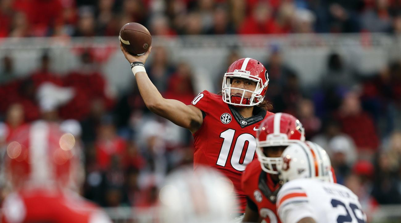 Georgia quarterback Jacob Eason (10) throws against Auburn in the first half of an NCAA college football game Saturday, Nov. 12, 2016, in Athens, Ga. (AP Photo/John Bazemore)