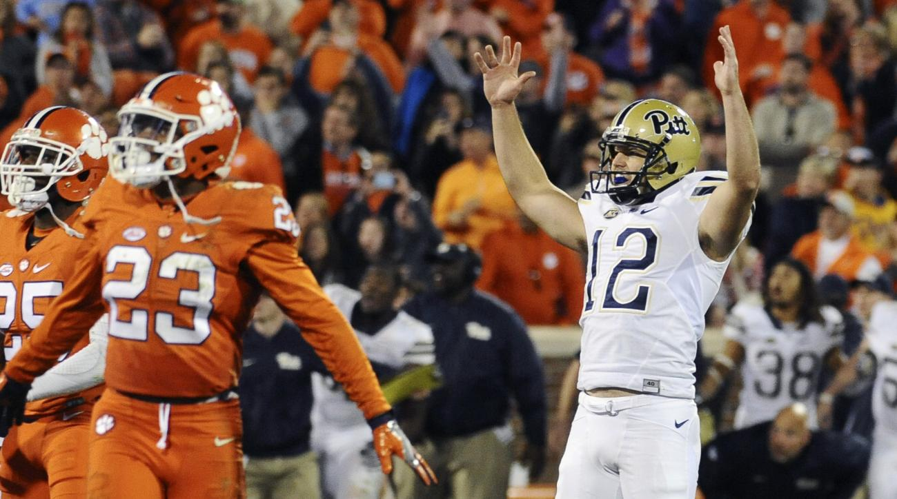 Pittsburgh place kicker Chris Blewitt (12) celebrates after kicking the game-winning field goal in an NCAA college football game against Clemson on Saturday, Nov. 12, 2016, in Clemson, S.C. Pittsburgh won 43-42. (AP Photo/Rainier Ehrhardt)