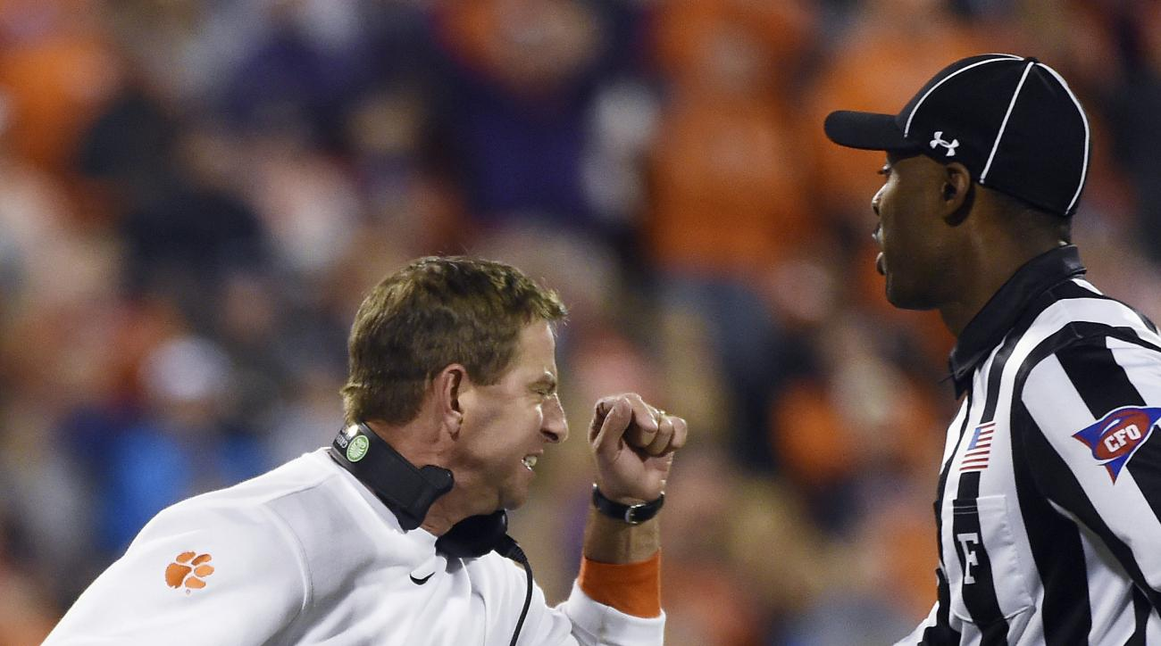 Clemson head coach Dabo Swinney reacts on the sideline during the second half of an NCAA college football game against Pittsburgh on Saturday, Nov. 12, 2016, in Clemson, S.C. Pittsburgh won 43-42. (AP Photo/Rainier Ehrhardt)