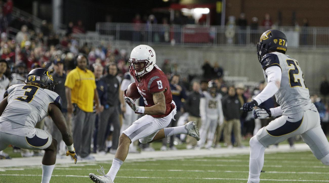 Washington State wide receiver Gabe Marks (9) runs with the ball after making a catch while defended by California defensive back Cameron Walker (3) and cornerback Ashtyn Davis (27) during the second half of an NCAA college football game in Pullman, Wash.