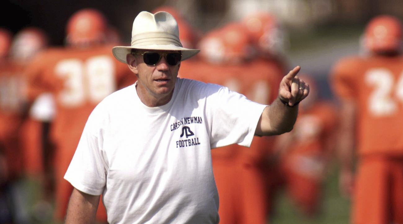FILE - In this Aug. 9, 2000 file photo, Carson-Newman head coach Ken Sparks gestures during football practice in Jefferson City, Tenn.  Sparks is ending a 37-season career in which he won 338 games to rank fifth on the NCAAs all-time list. (AP Photo/Wade