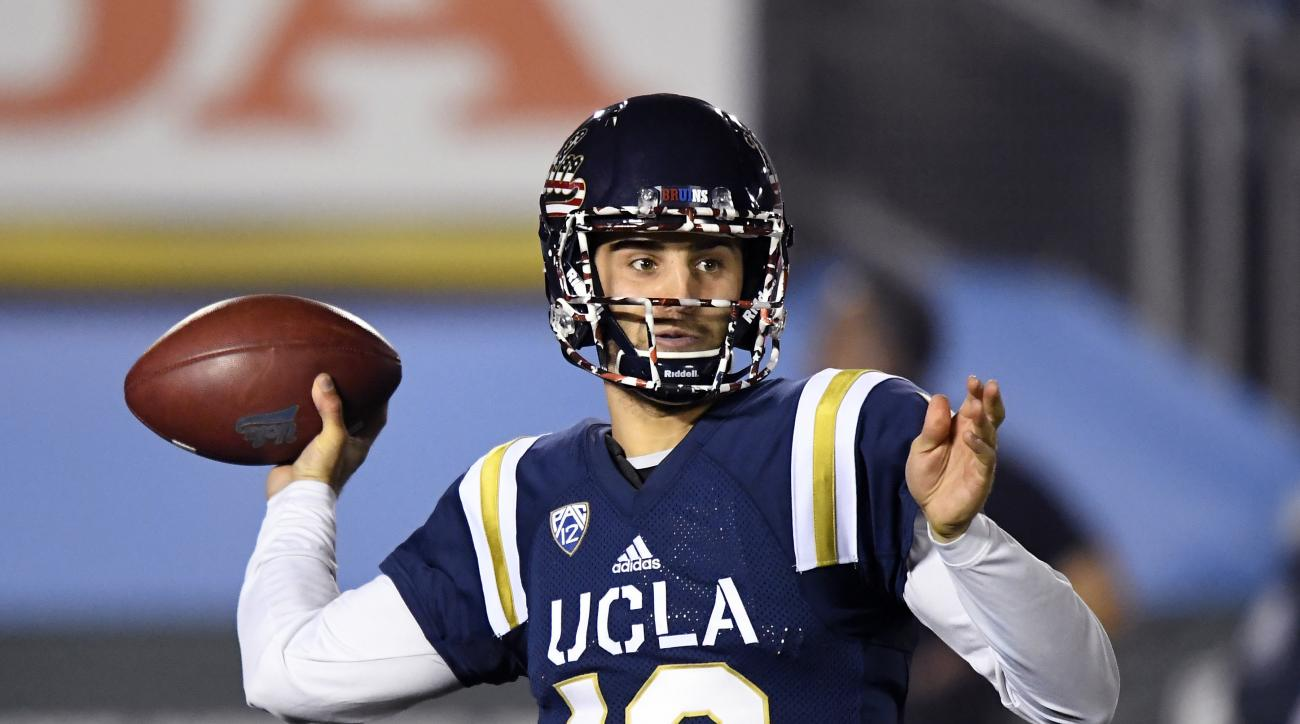 FILE - In this Saturday, Nov. 12, 2016, file photo, UCLA quarterback Mike Fafaul passes during the first half of an NCAA college football game against Oregon State in Pasadena, Calif. Every team has one of them: A player who hasn't gotten much attention f