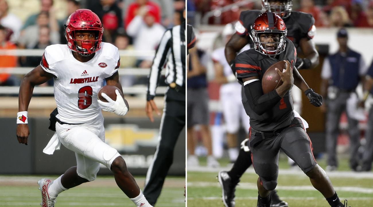 FILE - At left, in a Nov. 5, 2016, file photo, Louisville quarterback Lamar Jackson runs during the first half of an NCAA football game against the Boston College at Alumni Stadium in Boston, Mass. At right, in a Sept. 29, 2016, file photo, Houston quarte