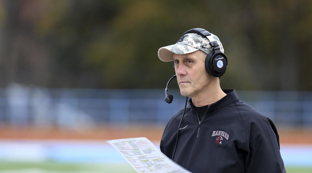 FILE - In this Saturday, Nov. 7, 2015 photo, Harvard football head coach Tim Murphy looks on from the sidelines against Columbia  during a college football game in Manhattan, N.Y.  With a victory over their archrivals in the 133rd edition of The Game on S