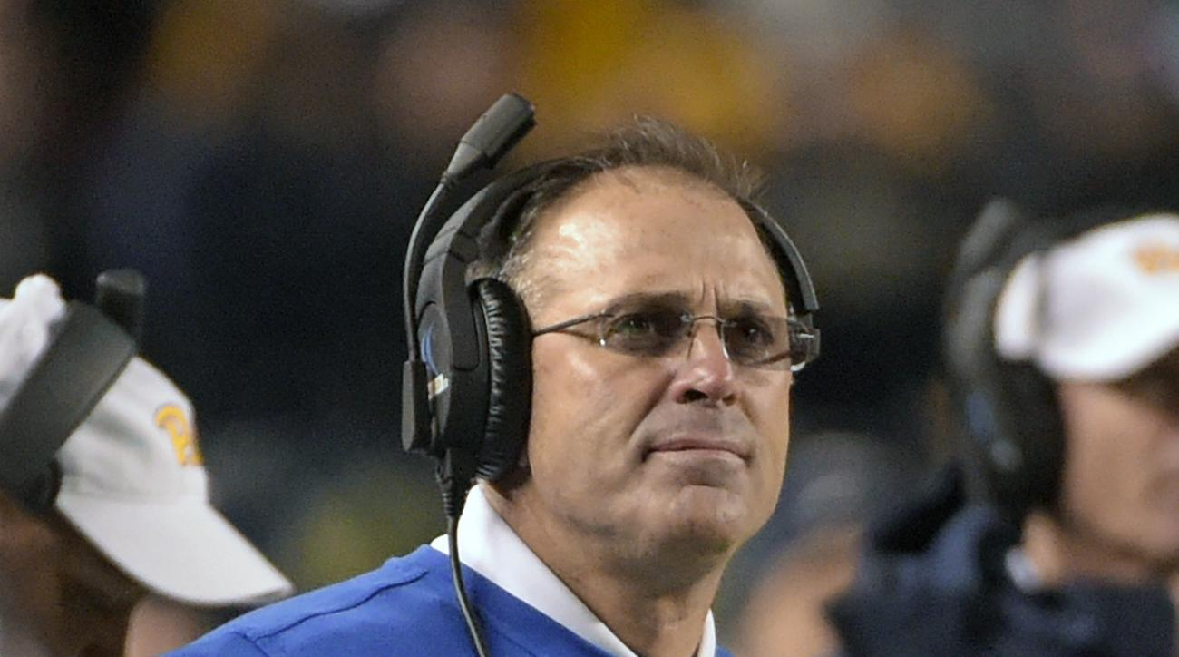 Pittsburgh head coach Pat Narduzzi watches the action from the sidelines during the second half of an NCAA college football game against Duke in Pittsburgh, Saturday, Nov. 19, 2016. (AP Photo/Fred Vuich)