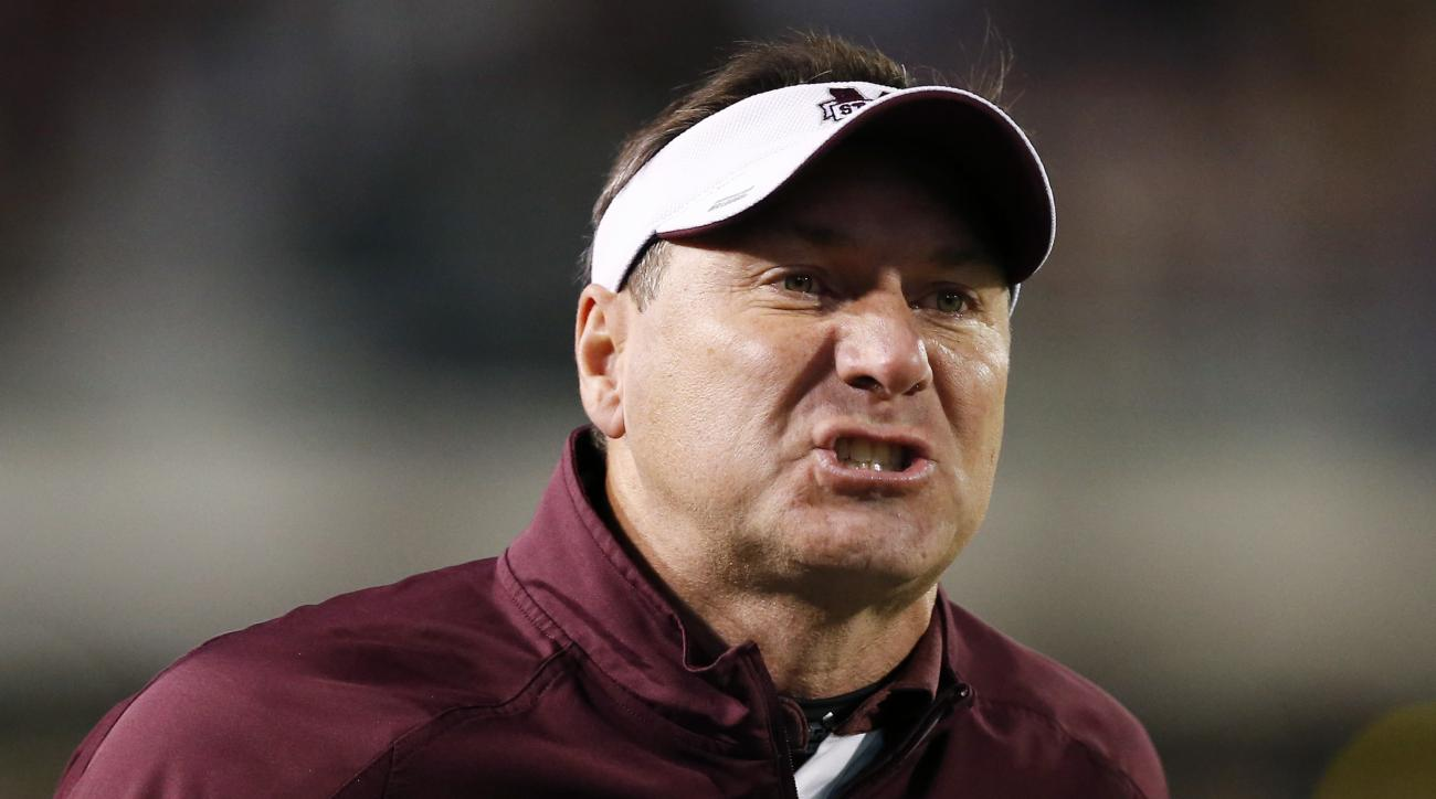 Mississippi State head coach Dan Mullen argues with a call during the first half of an NCAA college football game against Arkansas in Starkville, Miss., Saturday, Nov. 19, 2016. (AP Photo/Rogelio V. Solis)