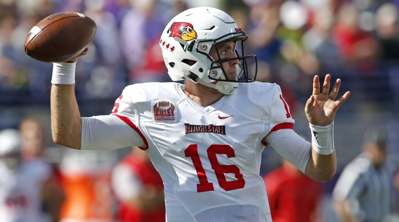 Illinois State quarterback Jake Kolbe looks to pass against Northwestern during the first half of an NCAA college football game in Evanston, Ill., Saturday, Sept. 10, 2016. (AP Photo/Nam Y. Huh)