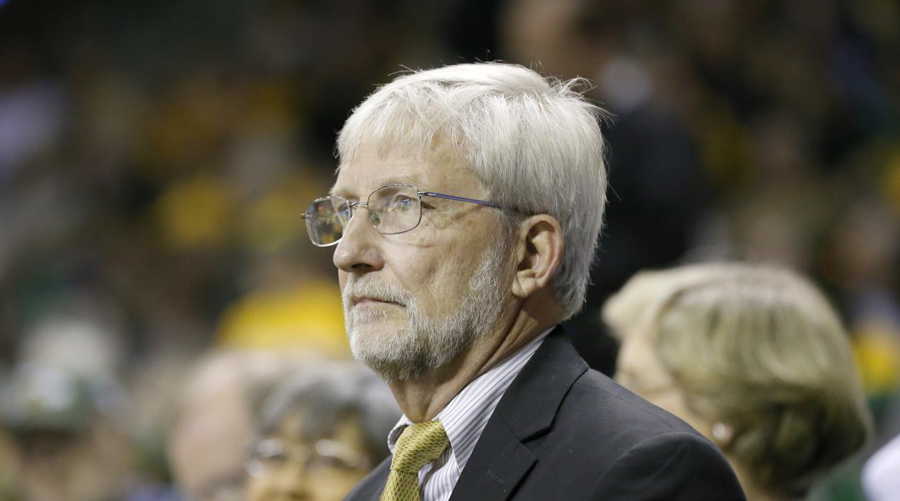 Baylor University Interim President Dr. David Garland watches play during an NCAA college basketball game against UCLA on Monday Nov. 14, 2016, in Waco, Texas. (AP Photo/Tony Gutierrez)