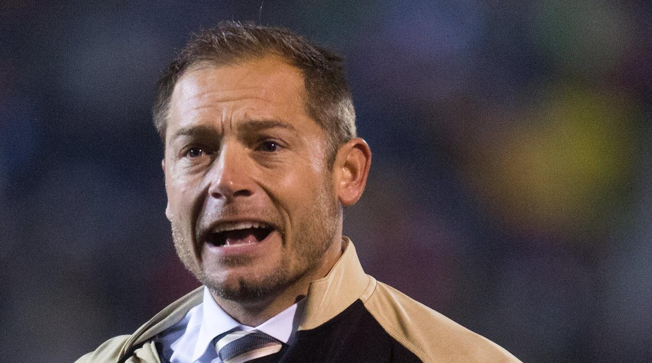 Western Michigan head coach P.J. Fleck yells to the referees during an NCAA college football game against Toledo in Kalamazoo, Mich., Friday, Nov. 25, 2016. WMU won, 55-35. (Bryan Bennett/Kalamazoo Gazette-MLive Media Group via AP)