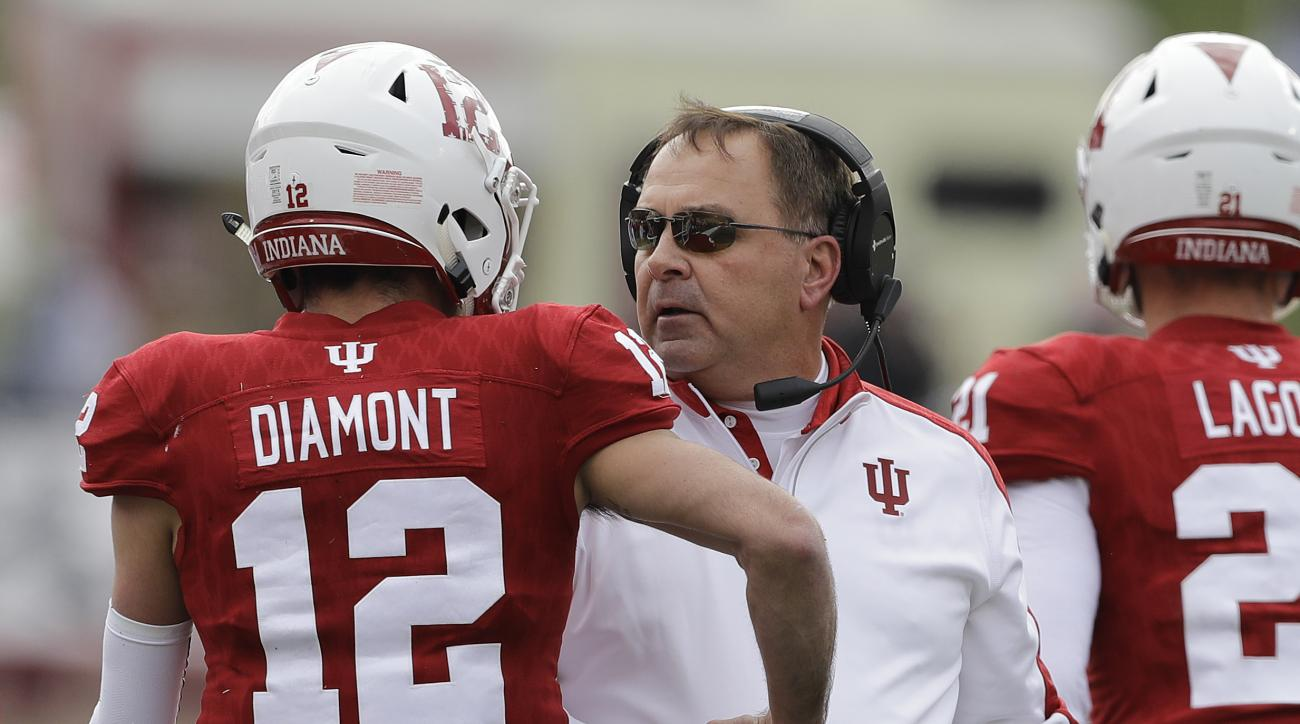 Indiana head coach Kevin Wilson talks with quarterback Zander Diamont after Diamont ran one-yard for a touchdown during the first half of an NCAA college football game against Purdue, Saturday, Nov. 26, 2016, in Bloomington, Ind. (AP Photo/Darron Cummings