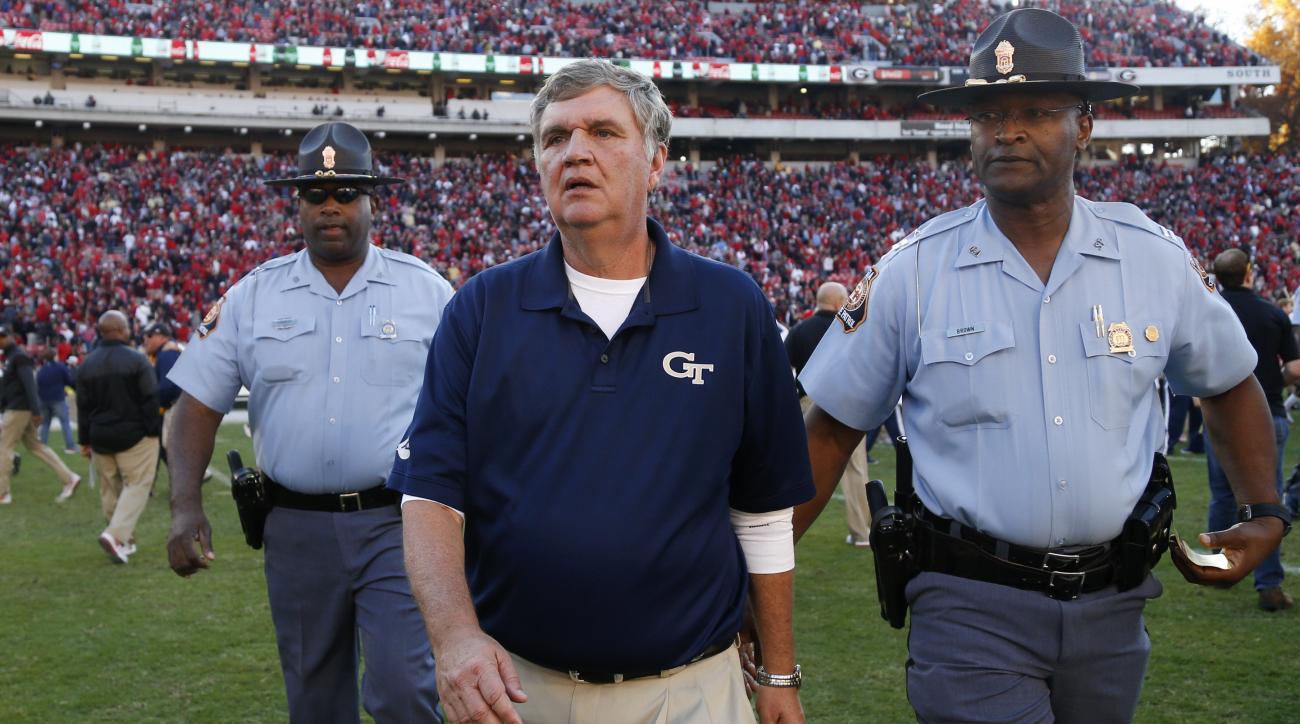 Georgia Tech head coach Paul Johnson walks off the field after a 28-27 victory against Georgia in an NCAA college football game Saturday, Nov. 26, 2016, in Athens, Ga. (AP Photo/Brett Davis)