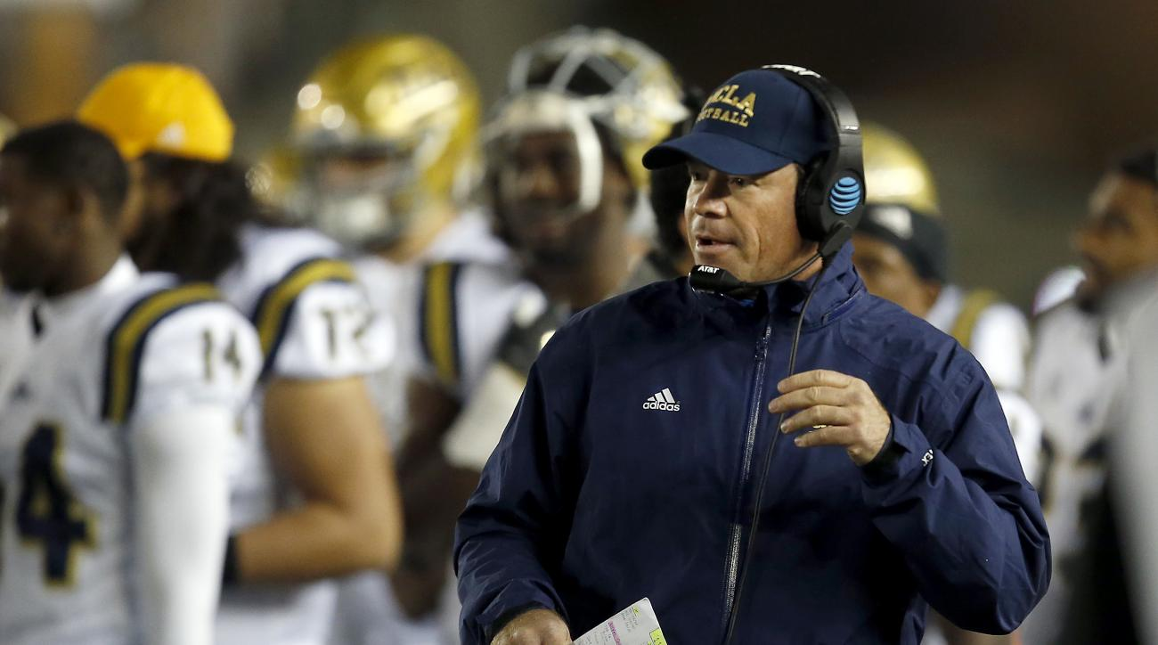 UCLA head coach Jim Mora watches from the sideline during the second half of an NCAA college football game against California, Saturday, Nov. 26, 2016, in Berkeley, Calif. (AP Photo/Tony Avelar)