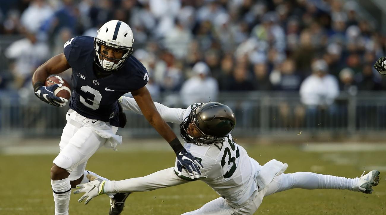 FILE - In this Saturday Nov. 26, 2016, file photo, Penn State's DeAndre Thompkins (3) gets past Michigan State's Justin Layne (39) after a catch during the first half of an NCAA college football game in State College, Pa. No. 6 Wisconsins opportunistic de