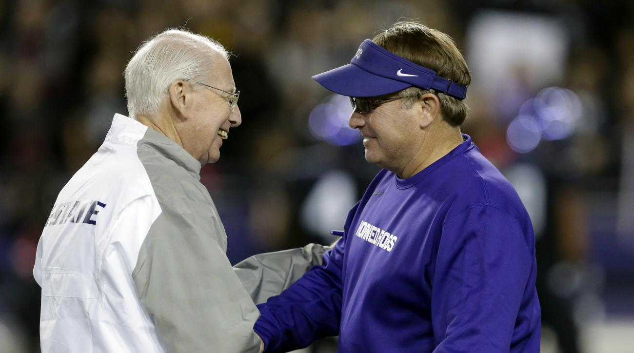 FILE - In this Nov. 8, 2014, file photo, Kansas State coach Bill Snyder, left, and TCU coach Gary Patterson, greet each other on the field before the teams' NCAA college football game in Fort Worth, Texas. When  Patterson coaches his school-record 202nd g