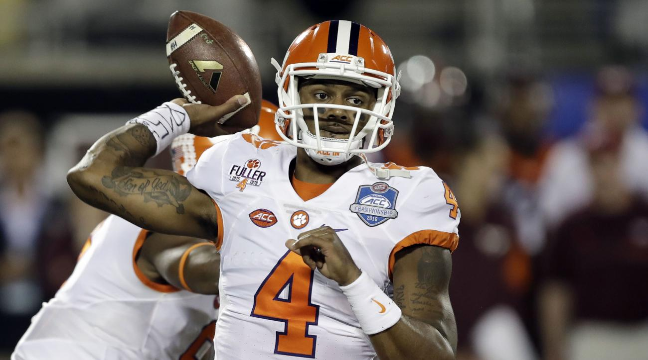 FILE - In a Saturday, Dec. 3, 2016 file photo, Clemson quarterback Deshaun Watson (4) looks to pass during the first half of the Atlantic Coast Conference championship NCAA college football gam against Virginia Tech, in Orlando, Fla. Watson acknowledges t