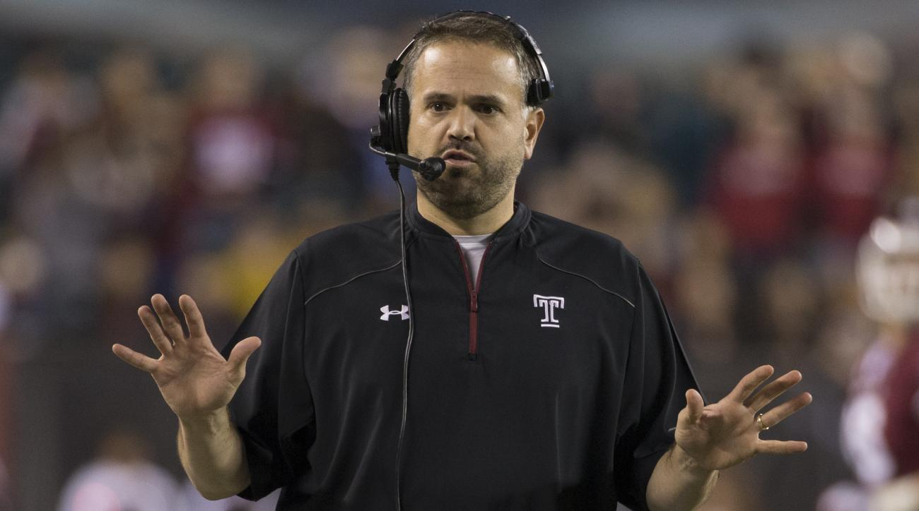 FILE - In this Nov. 28, 2015, file photo, Temple head coach Matt Rhule reacts during the first half of an NCAA college football game against Connecticut, in Philadelphia. Rhule is the new coach at Baylor, where he takes over a beleaguered Big 12 Conferenc