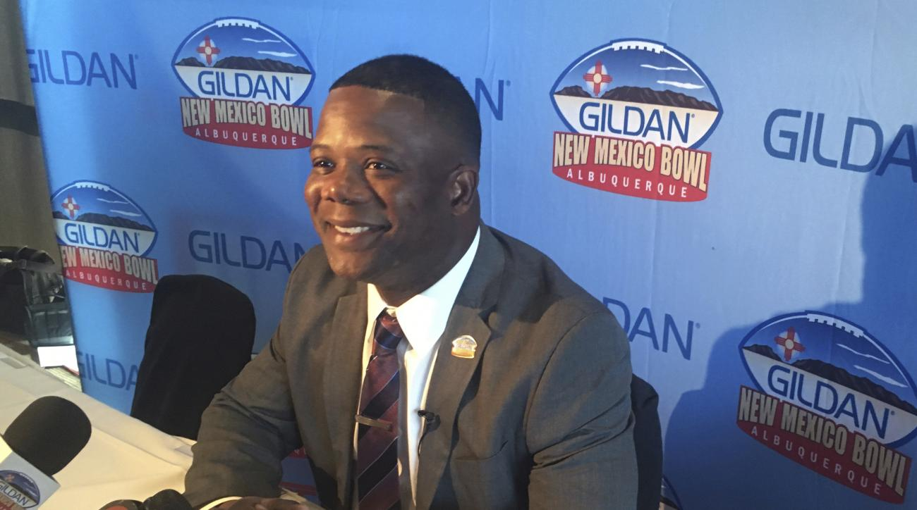 UTSA head coach Frank Wilson speaks at the press conference in Albuquerque, N.M. on Wednesday, Dec. 7, 2016, about playing in the upcoming New Mexico Bowl. Resurrected New Mexico will face new kids on the block UTSA in the New Mexico Bowl Dec. 17 to kick