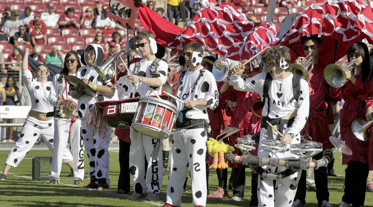 Stanford band performs prior to an NCAA college football game against California in Stanford, Calif., Saturday, Nov. 23, 2013. (AP Photo/Tony Avelar)