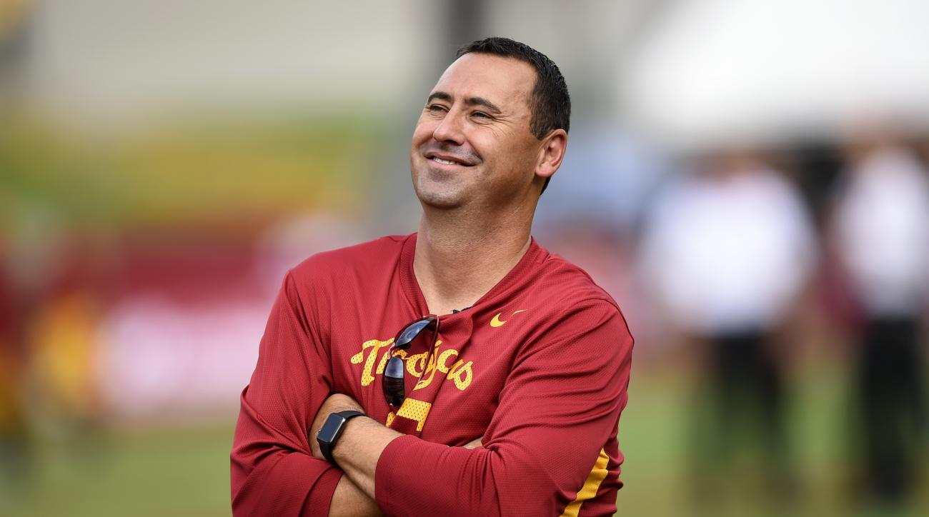 Southern California head coach Steve Sarkisian watch his team warmup before the start of the first half of an NCAA college football game against Idaho, Saturday, Sept. 12, 2015, in Los Angeles. (AP Photo/Gus Ruelas)