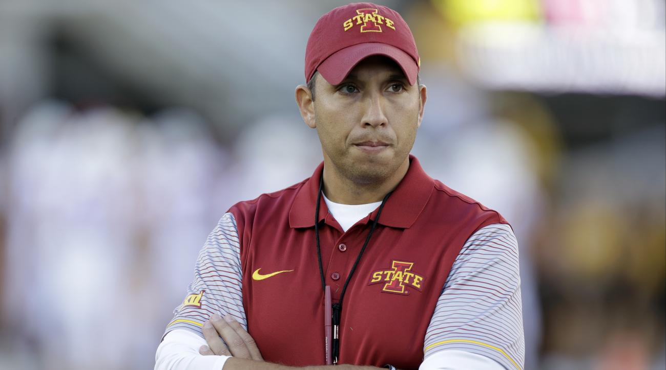 FILE - In this Sept. 10, 2016, file photo, Iowa State head coach Matt Campbell stands on the field before an NCAA college football game against Iowa, in Iowa City, Iowa. Iowa State's defensive line will have a new look next year after the Cyclones signed
