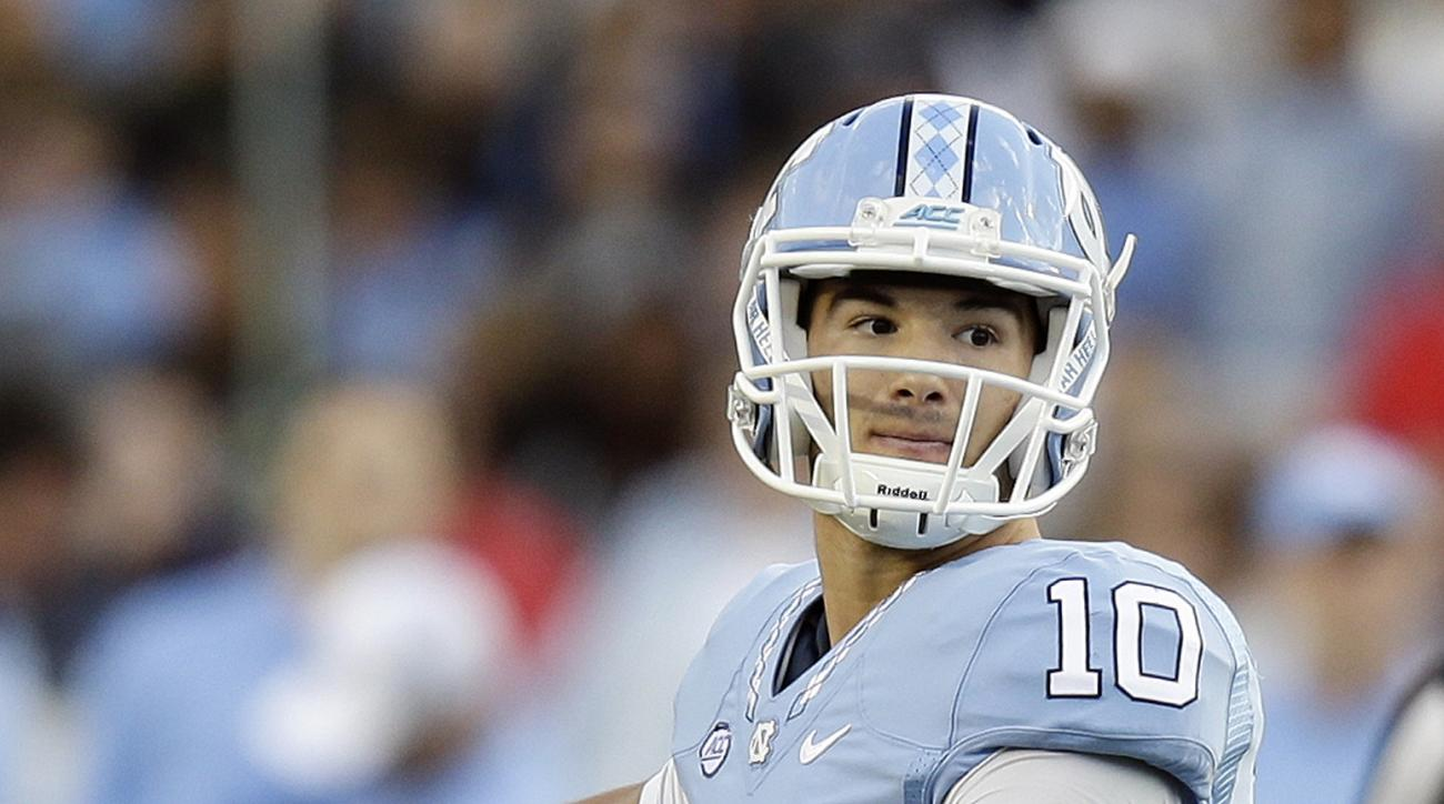FILE - In this Nov. 19, 2016, file photo, North Carolina quarterback Mitch Trubisky (10) looks to pass against The Citadel during the first half of an NCAA college football game in Chapel Hill, N.C. Trubisky is focusing more on playing Stanford in the Sun