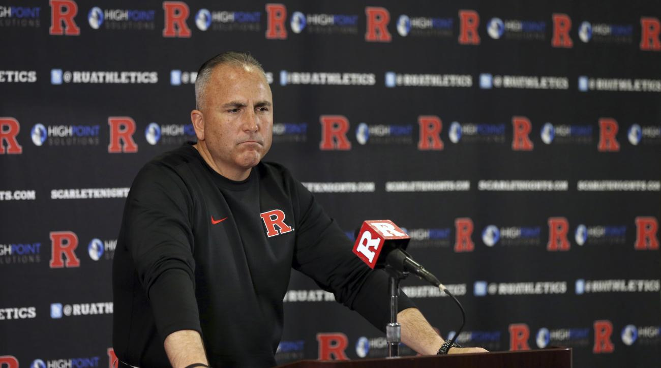 FILE - In this Nov. 28, 2015, file photo, Rutgers head coach Kyle Flood speaks during a news conference after an NCAA college football game against Maryland in Piscataway, N.J. Rutgers has fired Flood and athletic director Julie Hermann, a university offi
