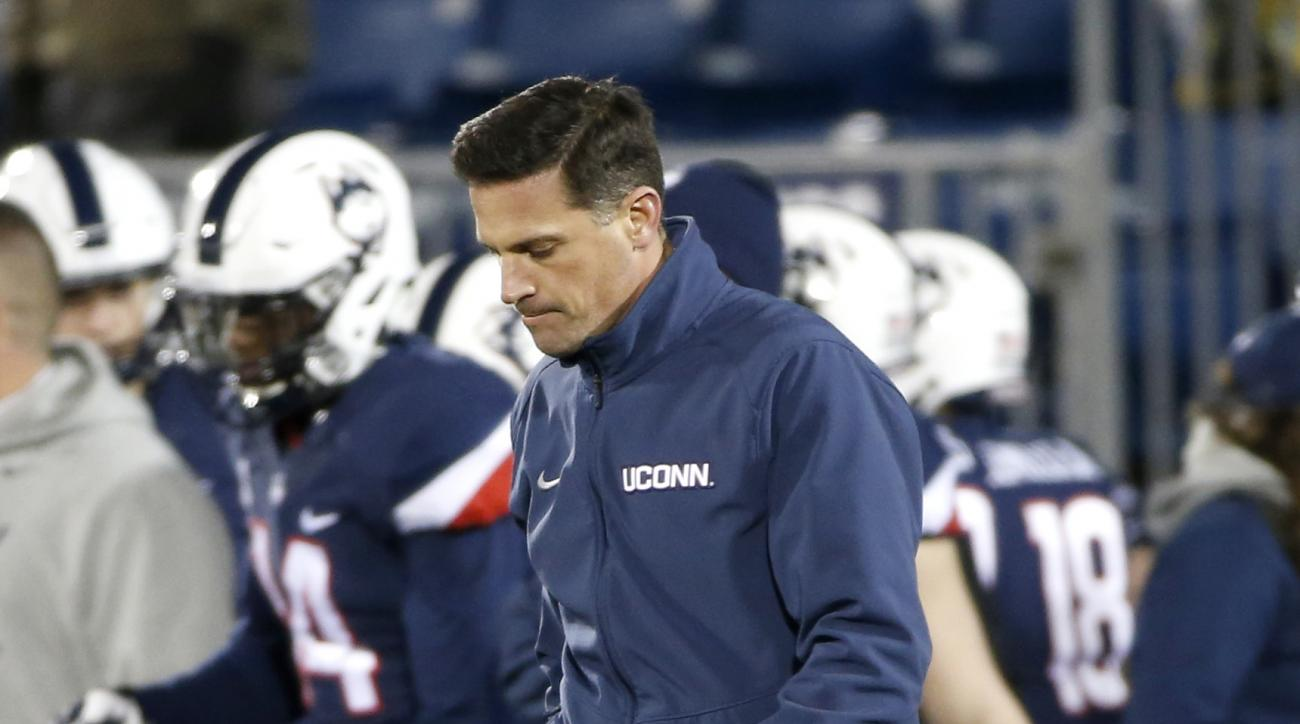 FILE - In this Nov. 26 2016, file photo, Connecticut head coach Bob Diaco reacts after a 38-13 loss to Tulane in an NCAA college football game in East Hartford, Conn. UConn athletic director David Benedict announced Monday, Dec. 26, 2016, that head footba