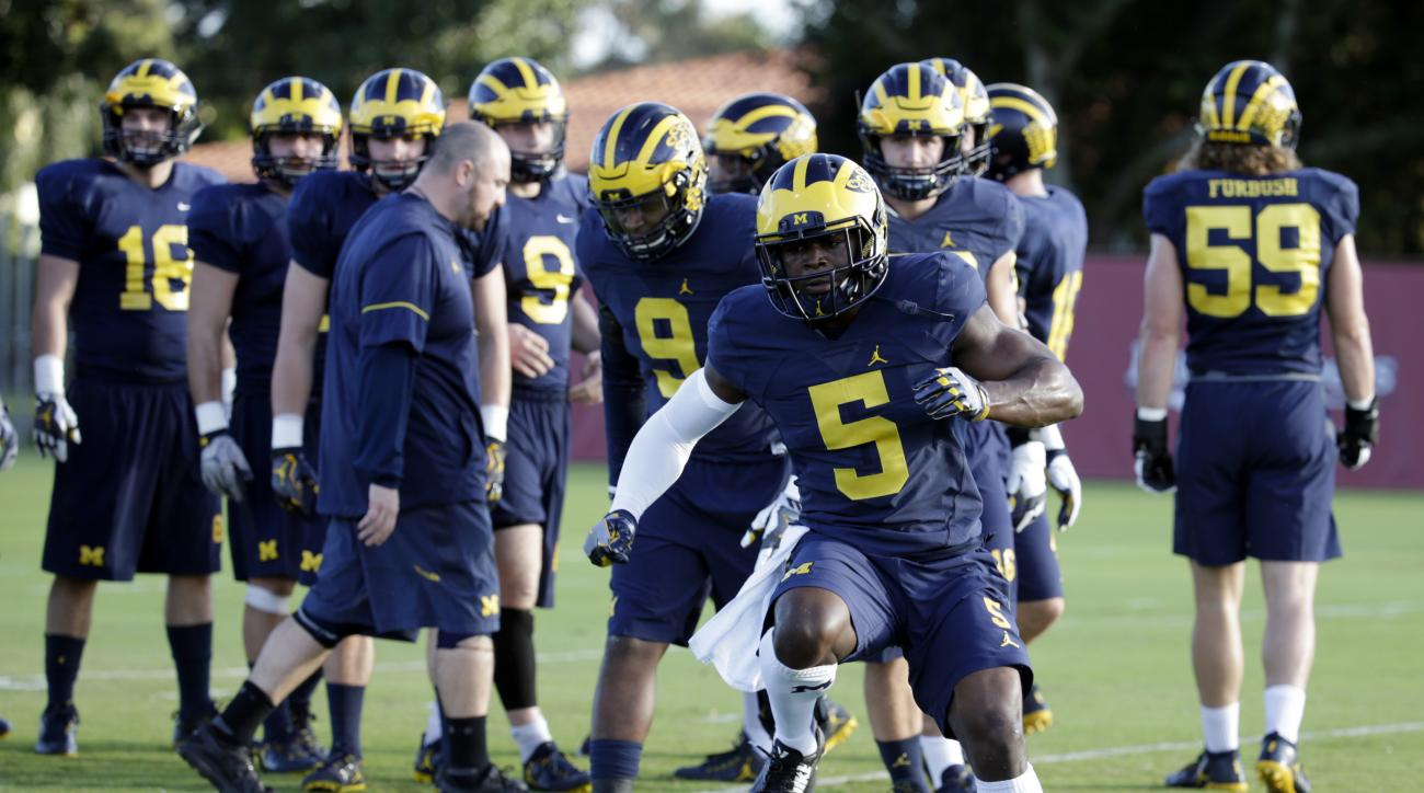 Michigan linebacker Jabrill Peppers (5) runs drills during NCAA college football practice, Tuesday, Dec. 27, 2016, in Miami. Michigan plays Florida State in the Orange Bowl Friday. (AP Photo/Lynne Sladky)
