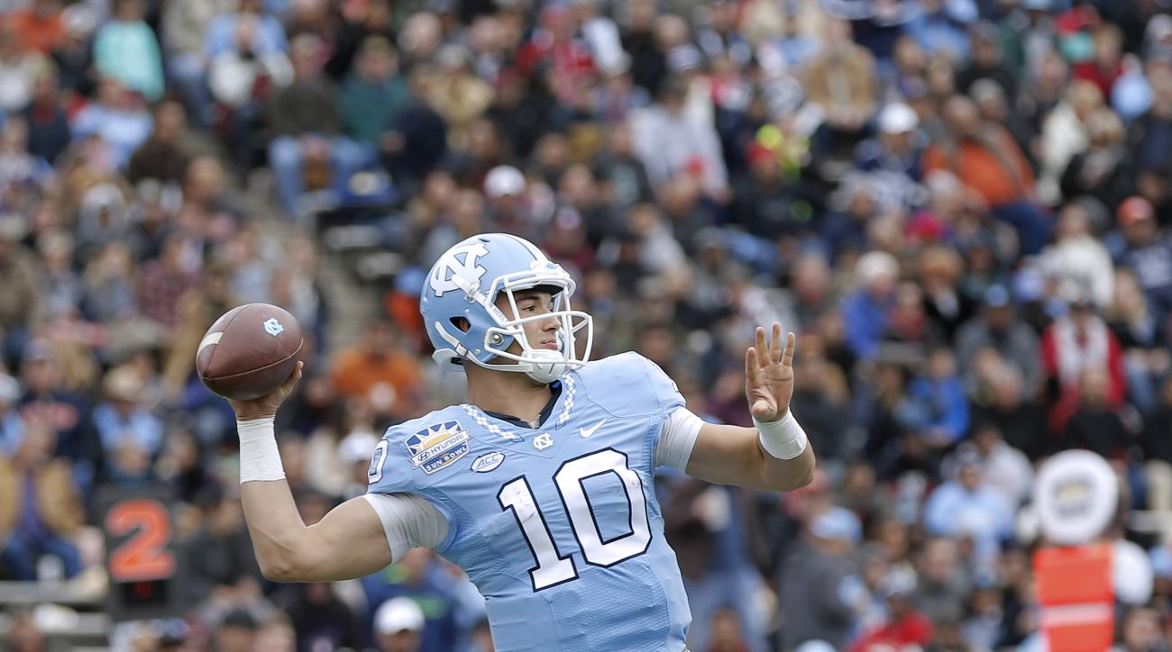 North Carolina quarterback passes against Stanford in the Sun Bowl NCAA college football game Friday, Dec., 30, 2016, in El Paso, Texas. (AP Photo/Mark Lambie)