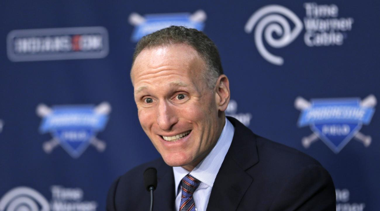 Cleveland Indians general manager Mark Shapiro speaks at a news conference Monday, Aug. 31, 2015, in Cleveland. Shapiro, who has had several prominent roles in nearly 24 years with Cleveland, will become the Toronto Blue Jays' president and CEO following