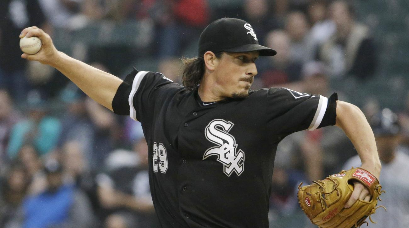 FILE - In this Aug. 29, 2015, file photo, Chicago White Sox starter Jeff Samardzija throws against the Seattle Mariners during the first inning of a baseball game, in Chicago. Free-agent pitcher Jeff Samardzija has agreed to a $90 million, five-year contr