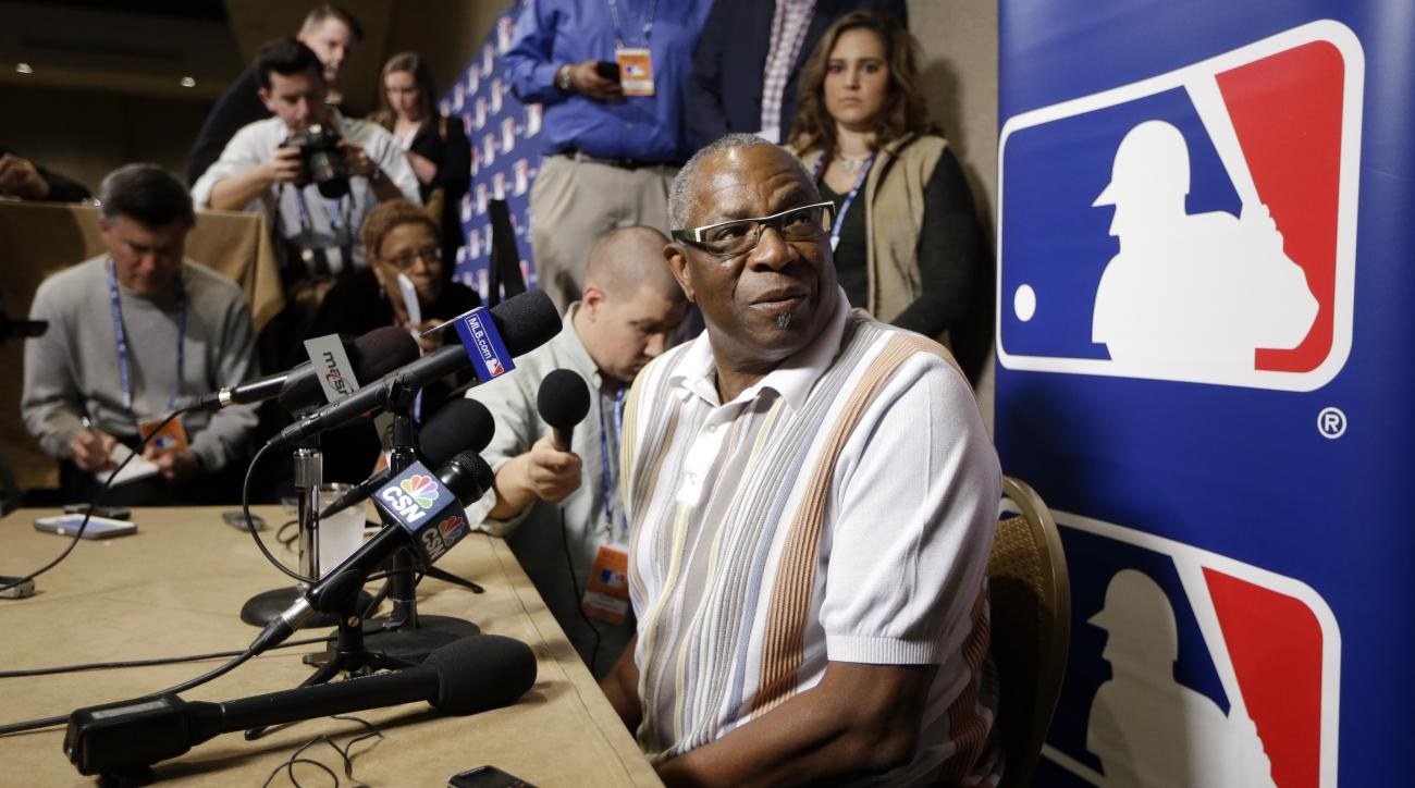 Washington Nationals manager Dusty Baker talks with reporters at baseball's winter meetings Tuesday, Dec. 8, 2015, in Nashville, Tenn. (AP Photo/Mark Humphrey)