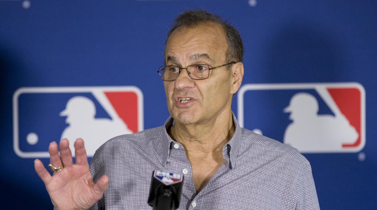 FILE- In this Nov. 11, 2015, file photo, Major League Baseball executive Joe Torre gestures as he speaks during a news conference at the general managers' meetings in Boca Raton, Fla. Major League Baseball hopes to push ahead with a rules change to better