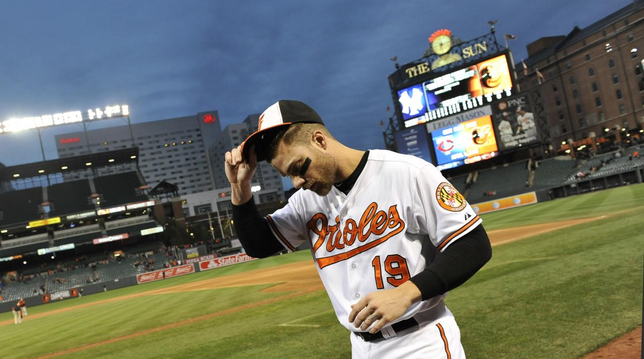 Baltimore Orioles Chris Davis walks to the dugout after the last baseball game of the season in Baltimore, Sunday, Oct. 4, 2015. (AP Photo/Gail Burton)