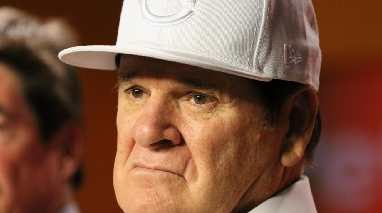 FILE - In this Sept. 21, 2015, file photo, former Cincinnati Reds player and manager Pete Rose tapes a segment for Miami Television News on the campus of Miami University, in Oxford, Ohio. Baseball Commissioner Rob Manfred has rejected Pete Rose's plea fo