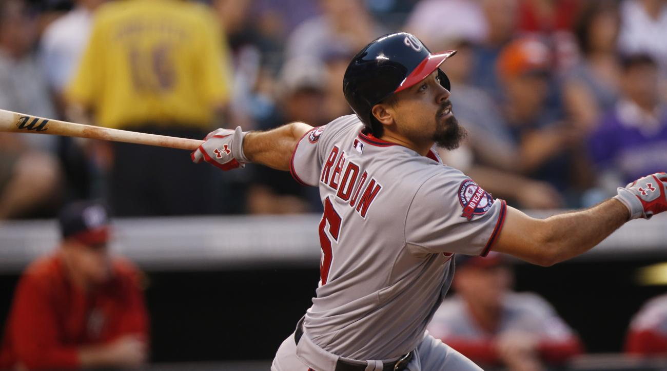 Washington Nationals second baseman Anthony Rendon (6) in the fourth inning of a baseball game Thursday, Aug. 20, 2015, in Denver. Colorado won 3-2. (AP Photo/David Zalubowski)