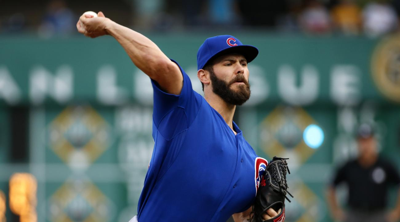 FILE - In this Aug. 4, 2015, file photo, Chicago Cubs starting pitcher Jake Arrieta warms up in the first inning of a baseball game against the Pittsburgh Pirates in Pittsburgh. National League Cy Young Award winner Arrieta had the largest gap among 35 pl