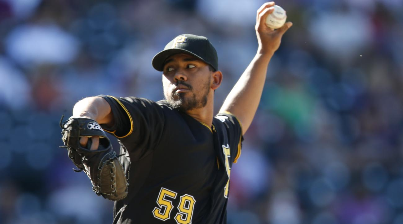 Pittsburgh Pirates relief pitcher Antonio Bastardo works against the Colorado Rockies in the eighth inning of a baseball game Thursday, Sept. 24, 2015, in Denver. Pittsburgh won 5-4. (AP Photo/David Zalubowski)