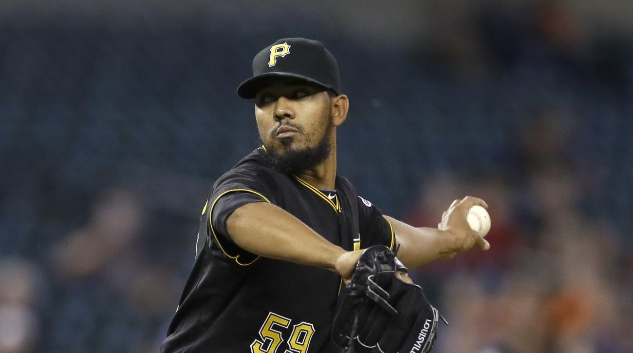 FILE - In this Tuesday, June 30, 2015 file photo, Pittsburgh Pirates relief pitcher Antonio Bastardo throws during the 11th inning of a baseball game against the Detroit Tigers in Detroit. A person familiar with the deal says free agent reliever Antonio B