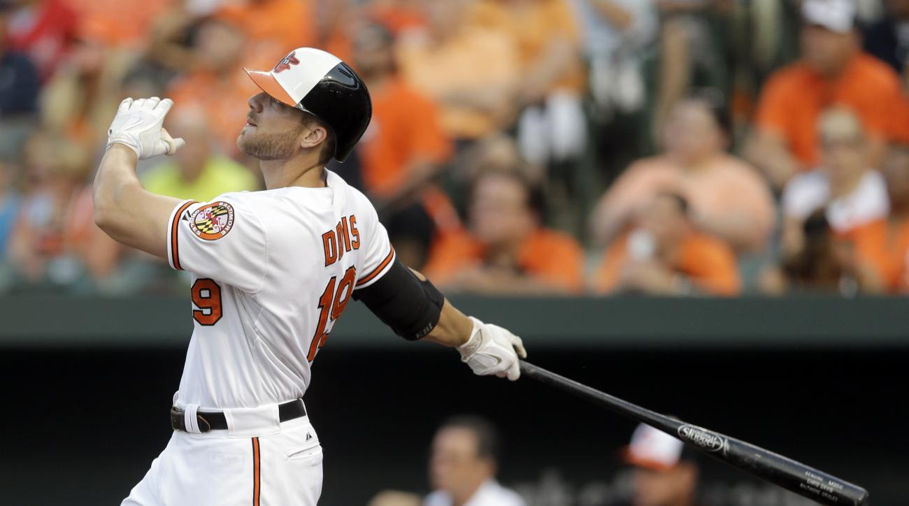 FILE - In this July 28, 2015, file photo, Baltimore Orioles' Chris Davis watches his three-run home run in the first inning of an interleague baseball game against the Atlanta Braves in Baltimore. Davis has signed the richest contract in Orioles history.