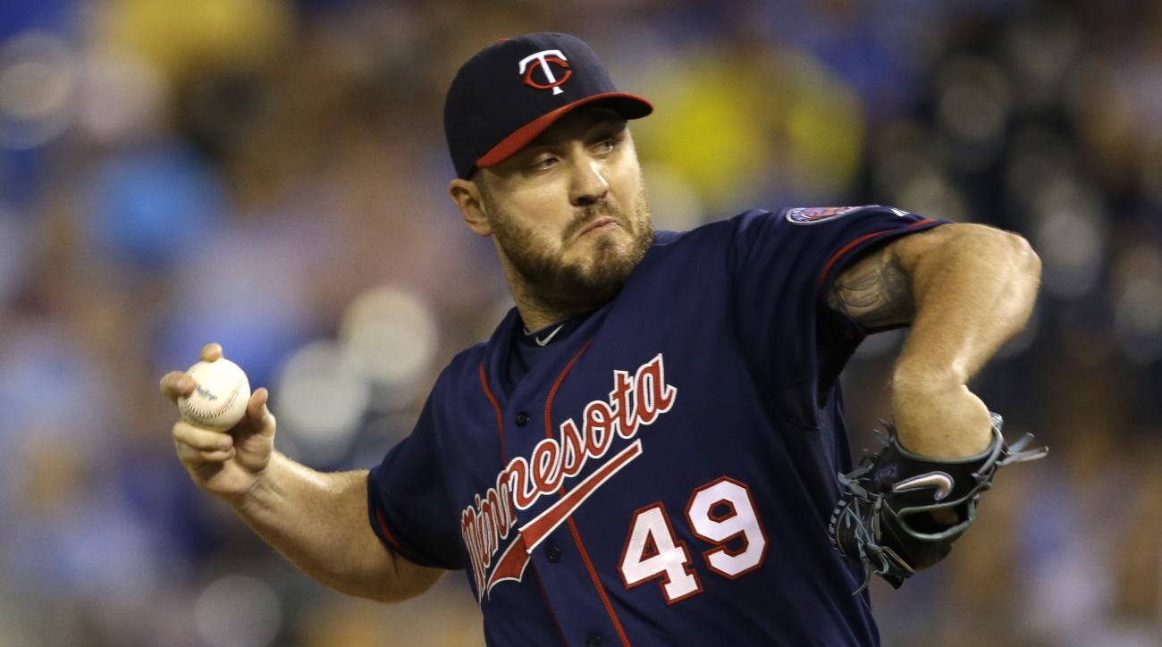 Minnesota Twins relief pitcher Kevin Jepsen during a baseball game against the Kansas City Royals at Kauffman Stadium in Kansas City, Mo., Wednesday, Sept. 9, 2015. The Twins defeated the Royals 3-2 in 12 innings. (AP Photo/Orlin Wagner)