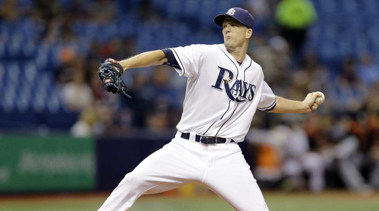 Tampa Bay Rays starting pitcher Drew Smyly delivers to the Miami Marlins during the fourth inning of an interleague baseball game Wednesday, Sept. 30, 2015, in St. Petersburg, Fla. (AP Photo/Chris O'Meara)