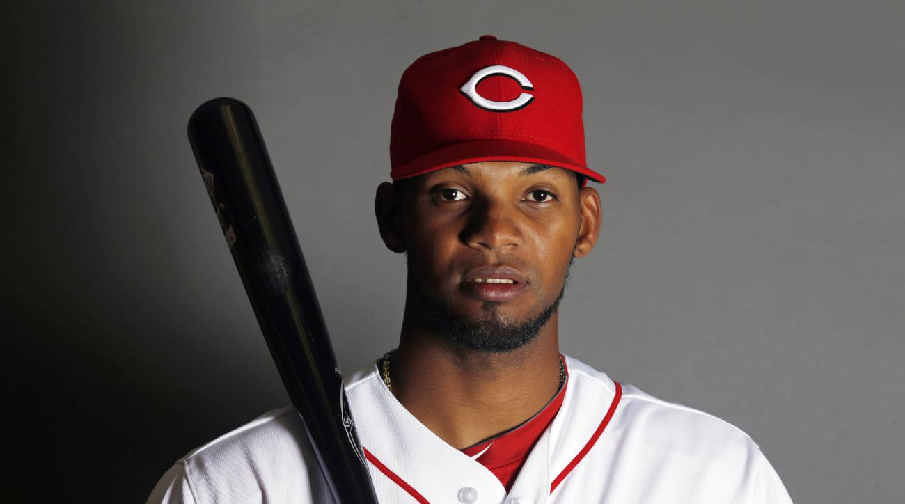 This is a 2015 photo of Juan Duran of the Cincinnati Reds. Cincinnati Reds outfield prospect Juan Duran has been suspended for the first 80 games of the season under Major League Baseball's drug program following a positive test for three performance-enha