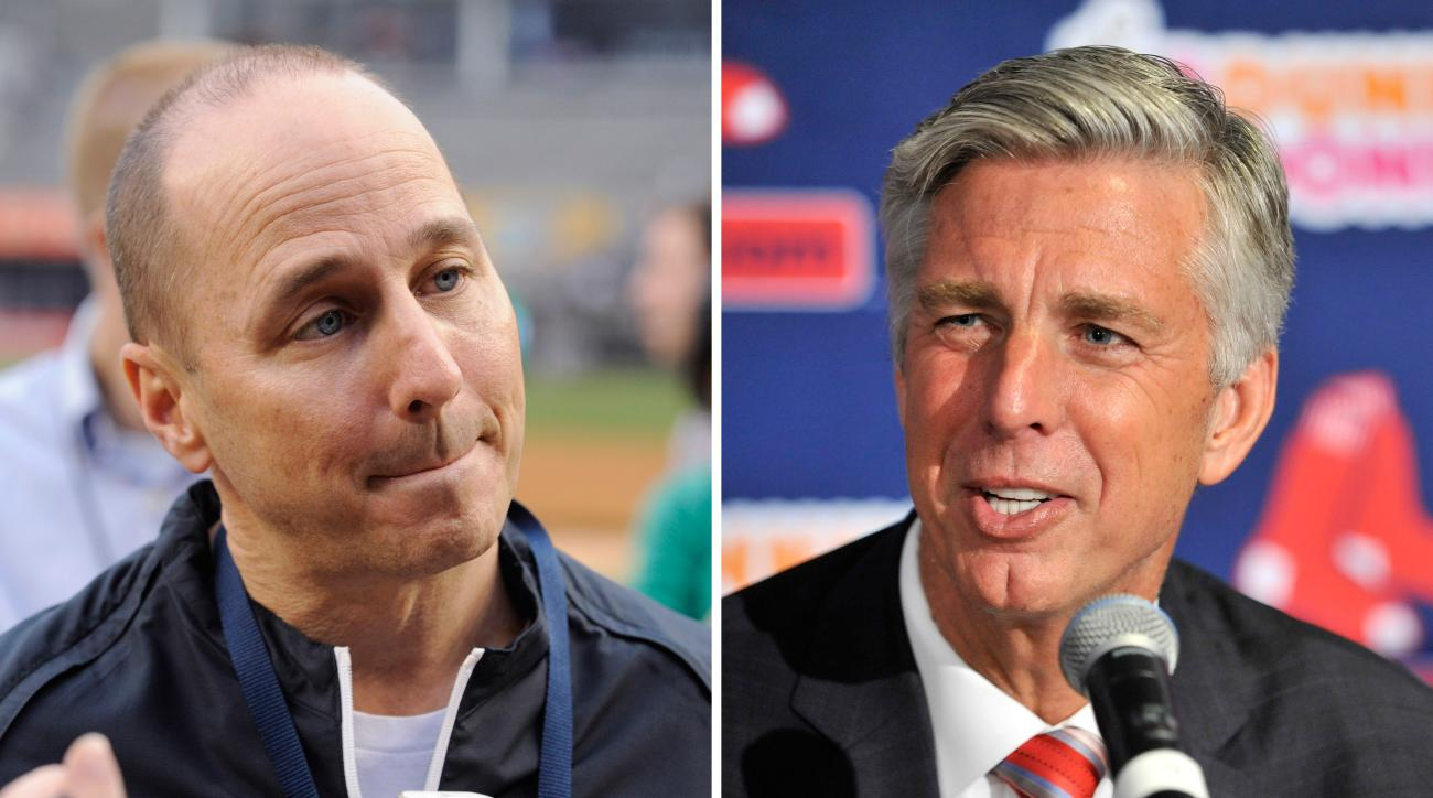 FILE - At left, in an April 11, 2014, file photo, New York Yankees general manager Brian Cashman speaks to the media before a baseball game against the Boston Red Sox, at Yankee Stadium in New York. At right, in an Aug. 19, 2015, file photo, Red Sox Presi