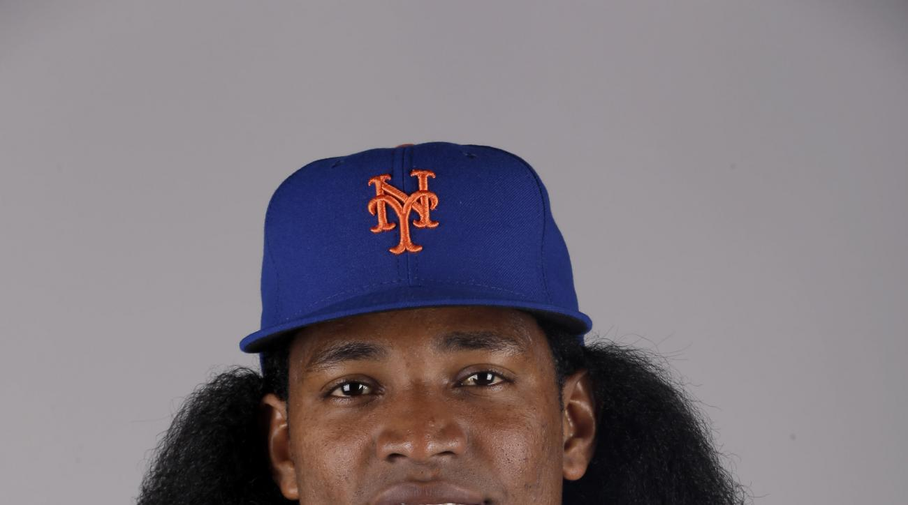 This is a 2015 photo of Jenrry Mejia of the New York Mets baseball team. This image reflects the Mets active roster as of Saturday, Feb. 28, 2015, when this image was taken. (AP Photo/Jeff Roberson)