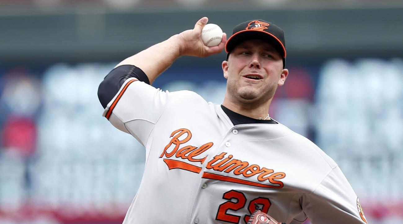 FILE - In this July 8, 2015, file photo, Baltimore Orioles pitcher Tommy Hunter throws against the Minnesota Twins in a baseball game in Minneapolis. Hunter and the Cleveland Indians have agreed to a one-year contract. A 29-year-old right-hander, Hunter w