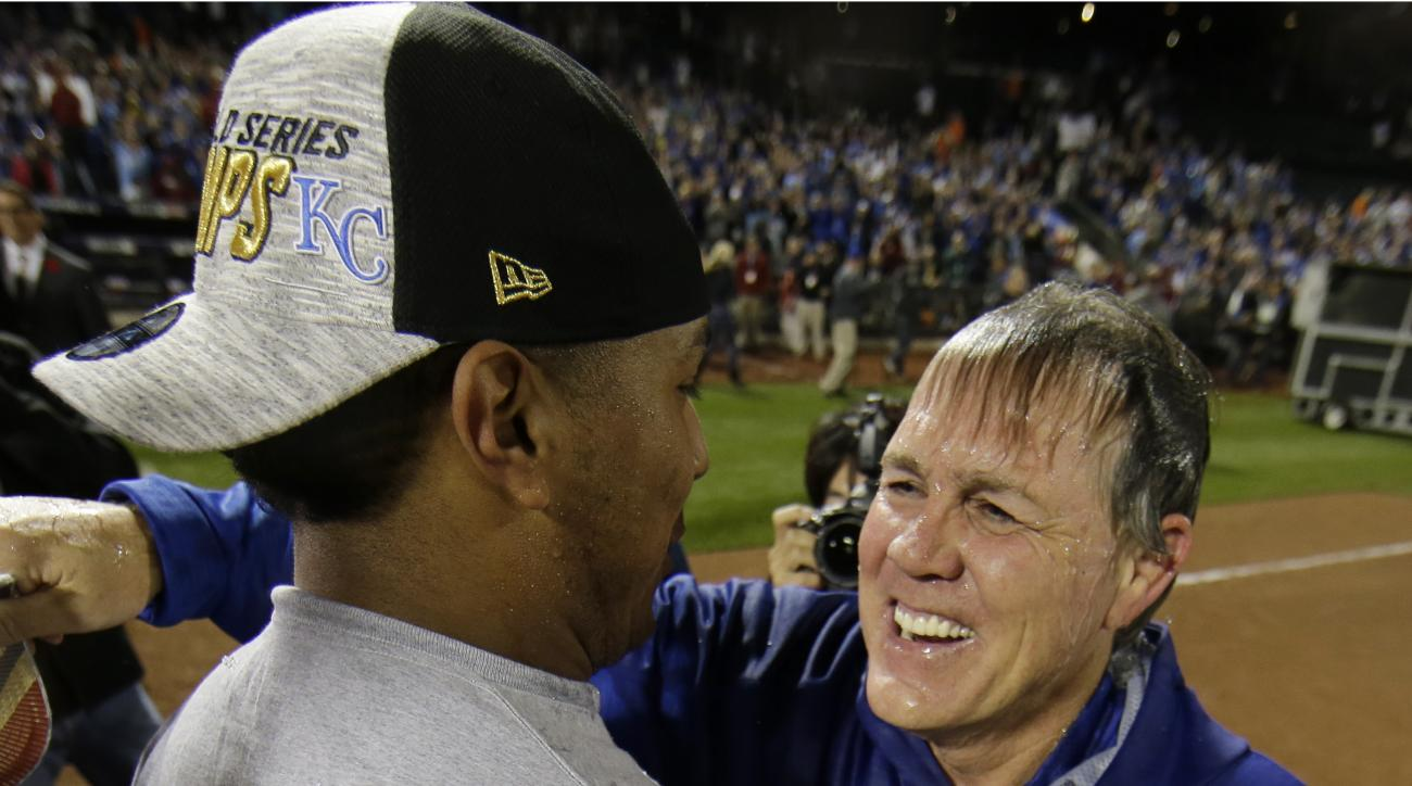 FILE - In this Nov. 2, 2015, file photo, Kansas City Royals catcher Salvador Perez celebrates with manager Ned Yost after Game 5 of the team's baseball World Series against the New York Mets in New York. After winning 95 games, their first division title