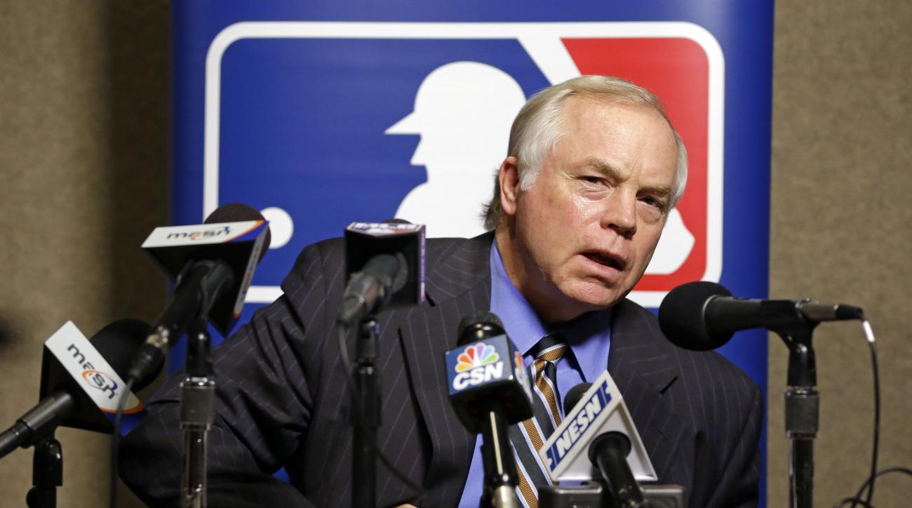FILE - In this Dec. 9, 2015, file photo, Baltimore Orioles manager Buck Showalter talks with reporters at Major League Baseball's winter meetings, in Nashville, Tenn. The Orioles spent millions during the offseason to fortify their offense and keep intact